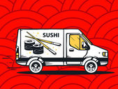 Fast delivering sushi — Stock Vector