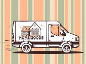 Fast delivering home goods — Vector de stock