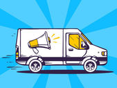 Van free and fast delivering — Stock Vector