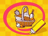 Basket with   food — Stock Vector