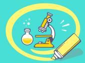 Circle around microscope — Stockvector