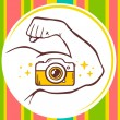 Hand with photo camera icon — Stock Vector #64366291