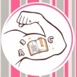 Man hand with open book icon — Stock Vector #64366339