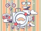 Mechanism with moustache — Stock Vector