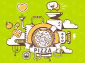 Mechanism to make pizza — ストックベクタ