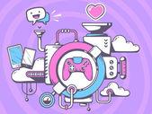 Mechanism to play  joystick — Stock Vector