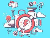 Mechanism to make lightning — Stock Vector