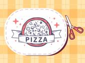 Sticker with icon of pizza — Stock Vector
