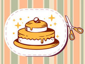 Sticker with icon of cake — Stock Vector