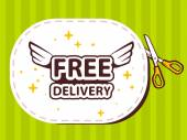 Sticker with icon of free delivery — Vettoriale Stock