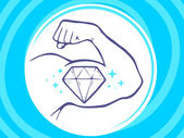 Strong man hand with icon of diamond — Stock Vector