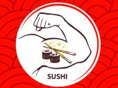 Strong man hand with  icon of sushi — Stock Vector