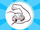 Strong man hand with  icon of dumbbell — Vector de stock