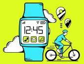 Smart watch with cyclist — Stock Vector