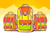 Fashion backpacks on yellow summer background — Stock Vector