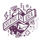 Black and white creative and idea quote — Stock Vector