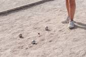 Metallic petanque balls on a fine gravel ground — Stock Photo