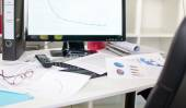 Cluttered desk — Stock Photo