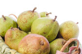 Pears in a basket closeup — Stock Photo