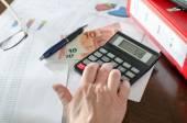 Contador feminino, verificação de documentos financeiros — Fotografia Stock