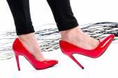 Woman wearing red high heel shoes — Foto de Stock