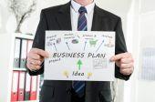 Businessman showing business plan concept — Stock Photo