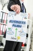 Businessman showing business plan — Stock Photo