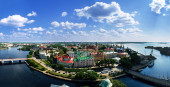 Vyborg. View of the Old City from the observation deck of the Vyborg Castle — Stock fotografie