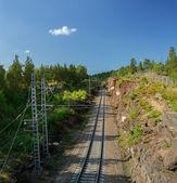 Single-track railway in Helsinki, Vyborg — Stock Photo