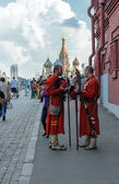 Historically stilized men on the Red Square — Stock Photo