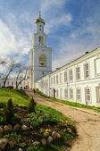 The bell tower of St. George's Monastery in Veliky Novgorod — Stock Photo