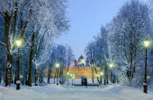 Saint Sophia Cathedral in Veliky Novgorod by night — Foto Stock