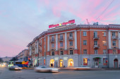 Center of Veliky Novgorod  at sunset — Stock Photo