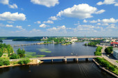 View of the Bay of Vyborg from the tower of the castle — Stok fotoğraf