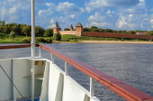 View of the Novgorod Kremlin from the boat — Stock Photo
