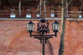 Metal lantern with coat of arms of Veliky Novgorod — Photo