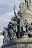 Sculptures of the monument Millennium of Russia in Veliky Novgorod — Stockfoto