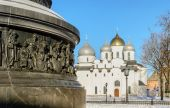 Fragment of Monument The Millenium of Russia on the background of Saint Sophia Cathedral — Stockfoto