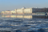 Academy of Fine Arts at the University embankment of the Neva river in Saint Petersburg — Stockfoto