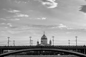 Great Stone Bridge and the Cathedral of Christ the Savior in Moscow - black and white processing — Stock Photo