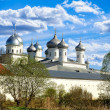 Architectural ensemble of orthodox Yuriev Monastery in Veliky Novgorod, Russia — Stock Photo #74000113