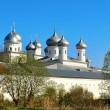 Architectural ensemble of orthodox Yuriev Monastery in Veliky Novgorod, Russia — Stock Photo #74000135