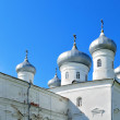 Saviour Cathedral of Russian orthodox Yuriev Monastery in Veliky Novgorod, Russia — Stock Photo #74000289