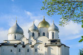 Closeup view of Saint Sophia Cathedral in Veliky Novgorod, Russia at summer sunset — Stock Photo