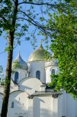 St. Sophia ancient cathedral in Veliky Novgorod, Russia at summer sunset — Stock Photo