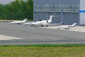 The parking of business jets in Pulkovo International airport in Saint-Petersburg, Russia — Stock Photo