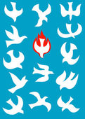 Dove Holy spirit set — Stock Vector