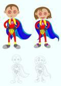 Little super boy and super girl — Stock Vector