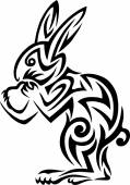 Rabbit tribal tattoo — 图库矢量图片