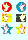 Paloma de la paz conjunto — Vector de stock